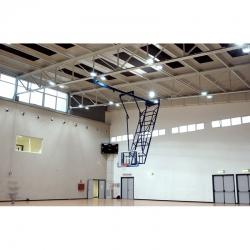Roof mounted forward up folding motorized basketball backstops S04070