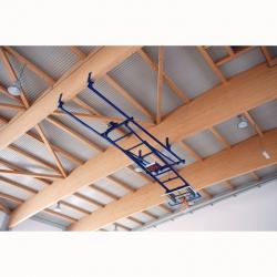 Roof mounted backward up folding motorized basketball backstops S04072