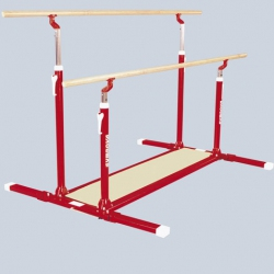 Unisex asymmetric or parallel bars with folding feet & transport trolleys